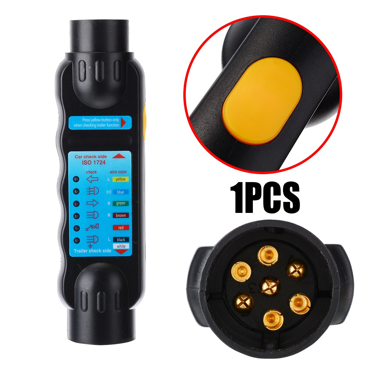 7 Pin Universal Towing Trailer Plug Socket Connection Tester 12V Wiring Circuit Light Tool Unit Diagnostic Tool