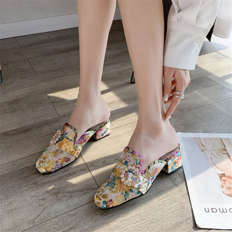 Купить lin king/женские тапочки на квадратном каблуке в стиле ретро