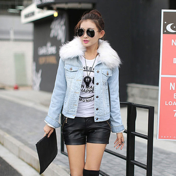 Womens Denim Jacket Fur Winter Jeans Hooded Velvet Coat Warm Padded Short 2020 Lamb Feminine Bomber Windbreake