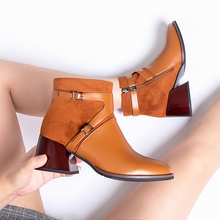2019 Black Brown Women Ankle Boots Zip Pointed Toe 4CM Block High Heels Dress Party Shoes hot sale beautiful women mid calf velvet boots block heeled blue black pointed toe back zip boots party high heels zapatos mujer