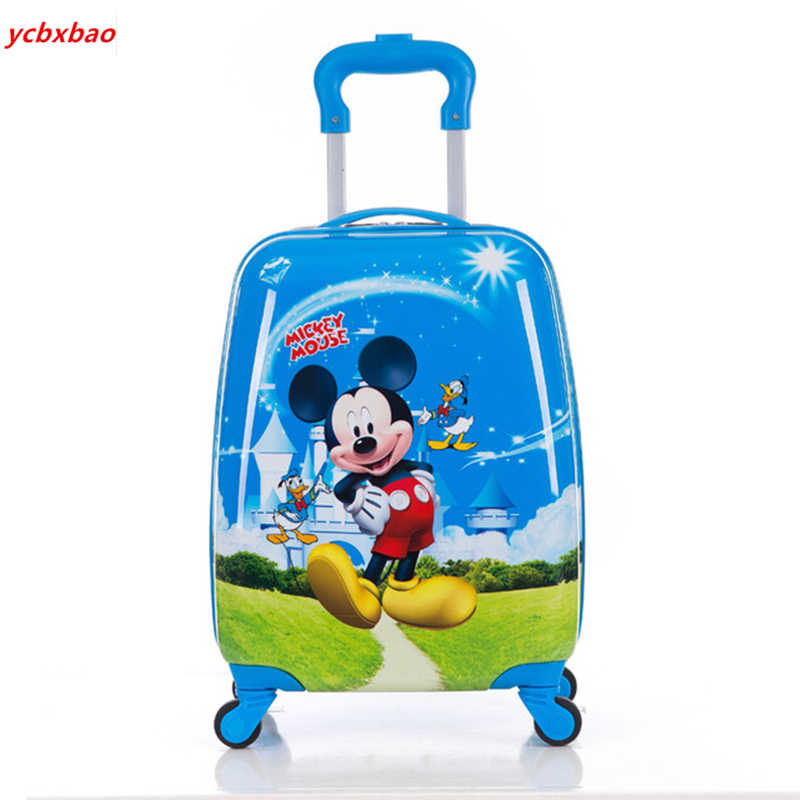 "Children's Suitcase Child Trolley case Luggage kids Schoolbags 18"" travel Suitcase Wheels 3D Cartoon Travel case kid's Toys box"