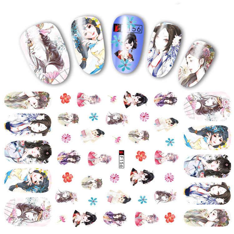 Etiqueta do prego decalques 3d unhas slider arte anime princesa menina design decoração manicure adesivo dicas folha envolve pegatinas polonês