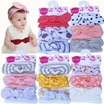 3Pcs Baby Girls Hair Accessories Kids Elastic Floral Headband baby Bowknot bands Headwear Hairband Set