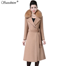 Cashmere Woolen Coat Women Winter New Plus Size Black Warm Double Breasted Fur Collar Long Wool Coat Fashion Female Jacket 4XL цена