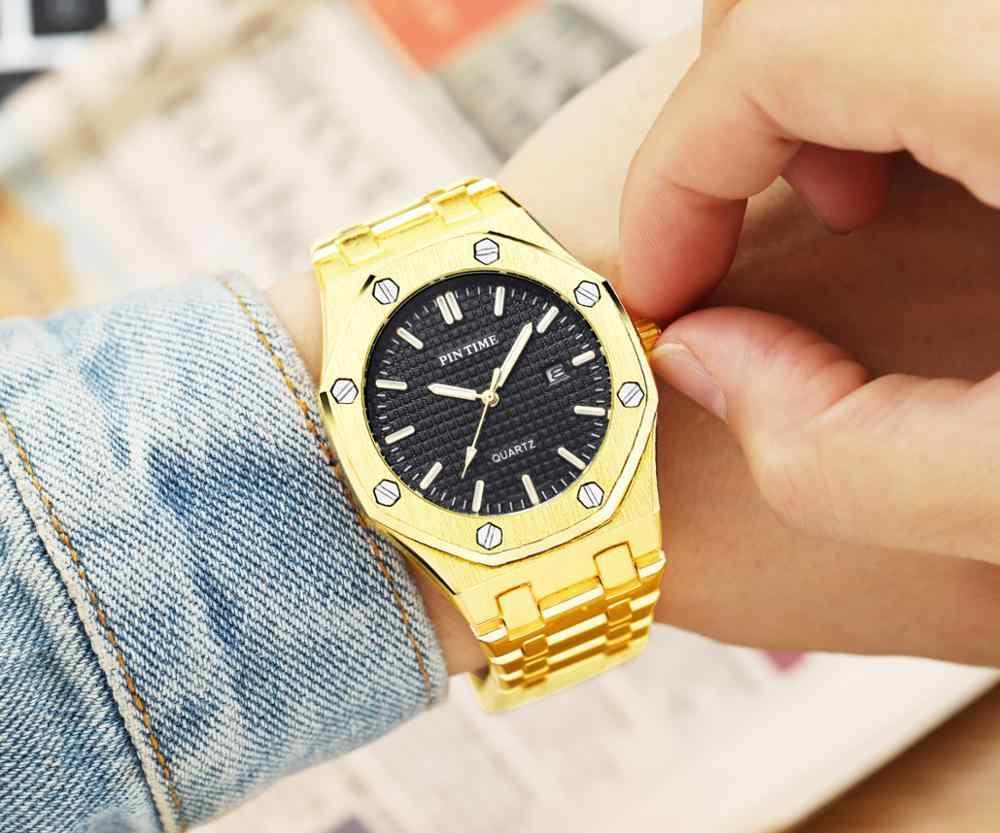 אופנה קוורץ גברים שעון זהב יוקרה מותג לוח שנה זכר שעון יד עסקי פלדת גברים שעון עמיד למים Relogio Masculino reloj