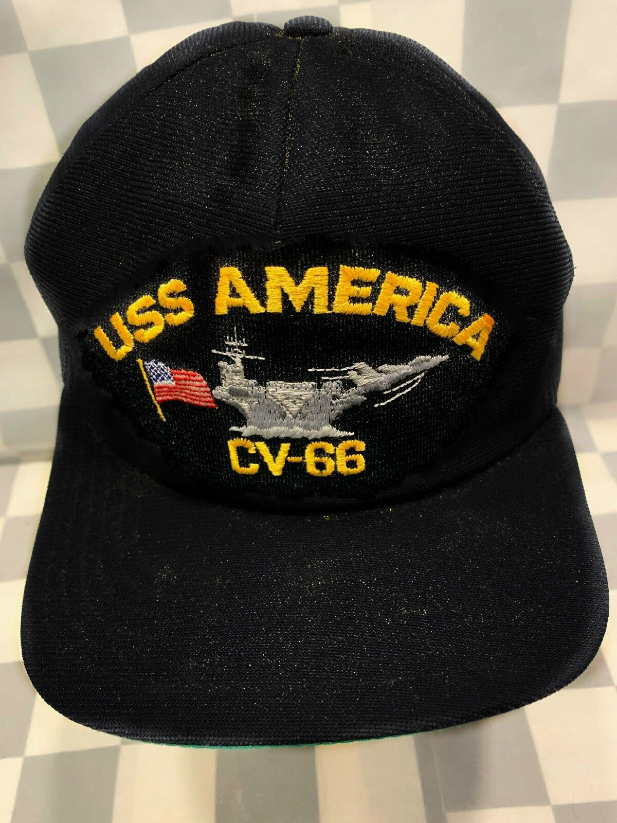 NEW US NAVY USN VIETMAN VETERAN FAUX LEATHER BALL CAP HAT NAVY