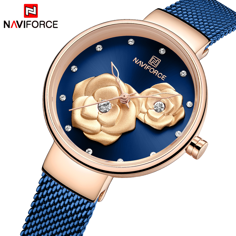 NAVIFORCE New Women Watch Top Luxury Brand Creative Design Steel Mesh Women's Watches Female Clock Relogio Feminino Montre Femme