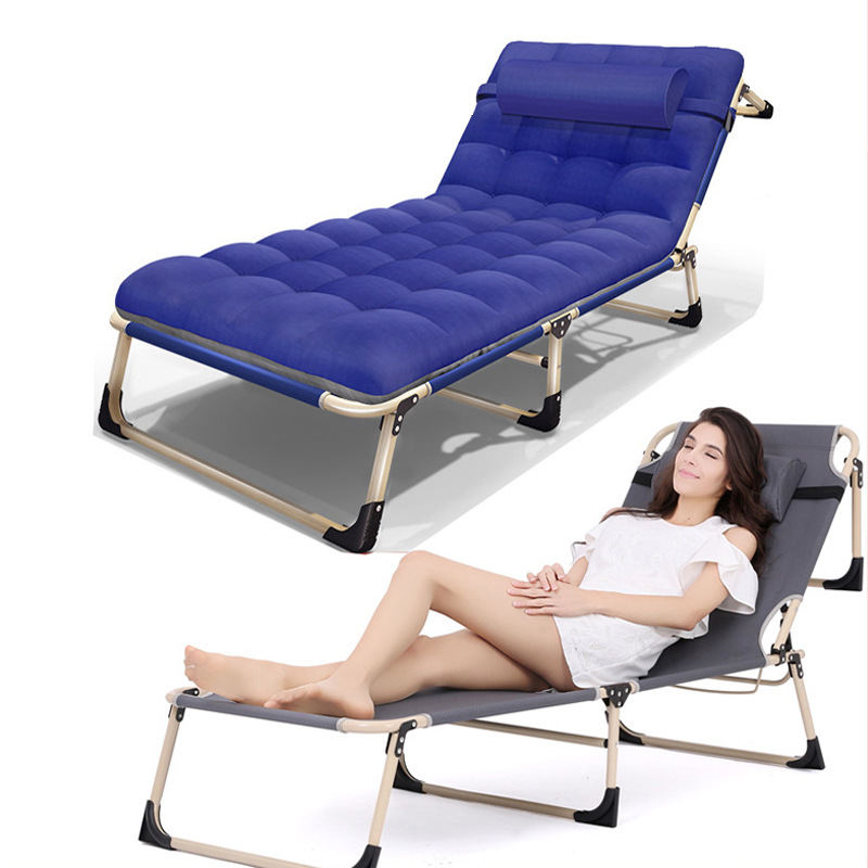 Office Nap Bed Lounge Chair Chaise Bed Adjustable Reclining Positions Folding  Cot With Removable Pillow For Camping Pool Beach