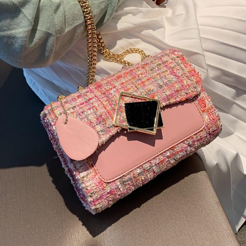 Sweet Lady Hit Color Square Bag 2019 Fashion New High Quality Woolen Women's Designer Handbag Lock Chain Shoulder Messenger Bag