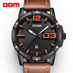 Image 1 - DOM 2018 חדש שעון גברים גדול חיוג אופנתי ספורט קוורץ שעון עמיד למים עור Mens שעוני מותג יוקרה Relogio Masculino M 1218