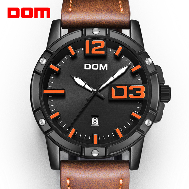 DOM 2018 חדש שעון גברים גדול חיוג אופנתי ספורט קוורץ שעון עמיד למים עור Mens שעוני מותג יוקרה Relogio Masculino M 1218