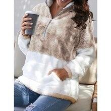 Новинка, повседневное зимнее меховое Женское пальто на молнии, Женская куртка в стиле пэчворк, пуловер, теплая одежда, свободная одежда с ка...