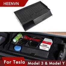 Heenv n – boîte d'accoudoir Central de voiture, nouveau modèle 3, pour Tesla modèle 3 S X Y, boîte à gants de rangement, accessoires, Double étage, 2021, 2020