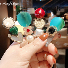 3pc/set  Fashion Women Geometric Metal Resin Bead Hairpins Retro Hairgrip Korea Sweet Pearl Acrylic Hair Clips  Hair Accessories 3pc acrylic drum shells 22x18 14x6 12x7inch