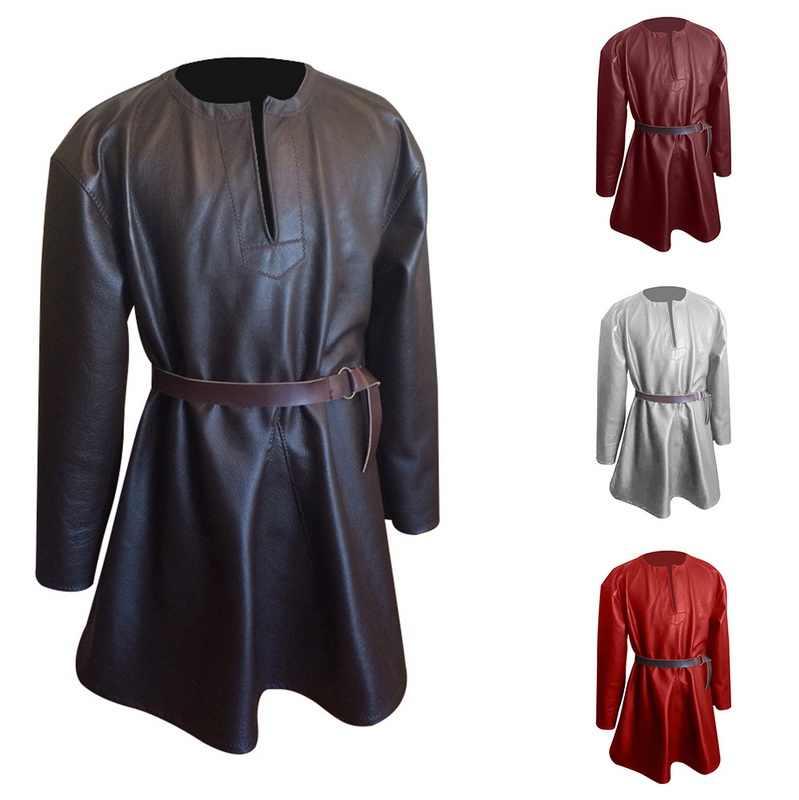 2019 новый мужской Готический викторианский стимпанк пуловеры модный кожаный средневековый костюм платье Готический длинный рукав платье плюс размер