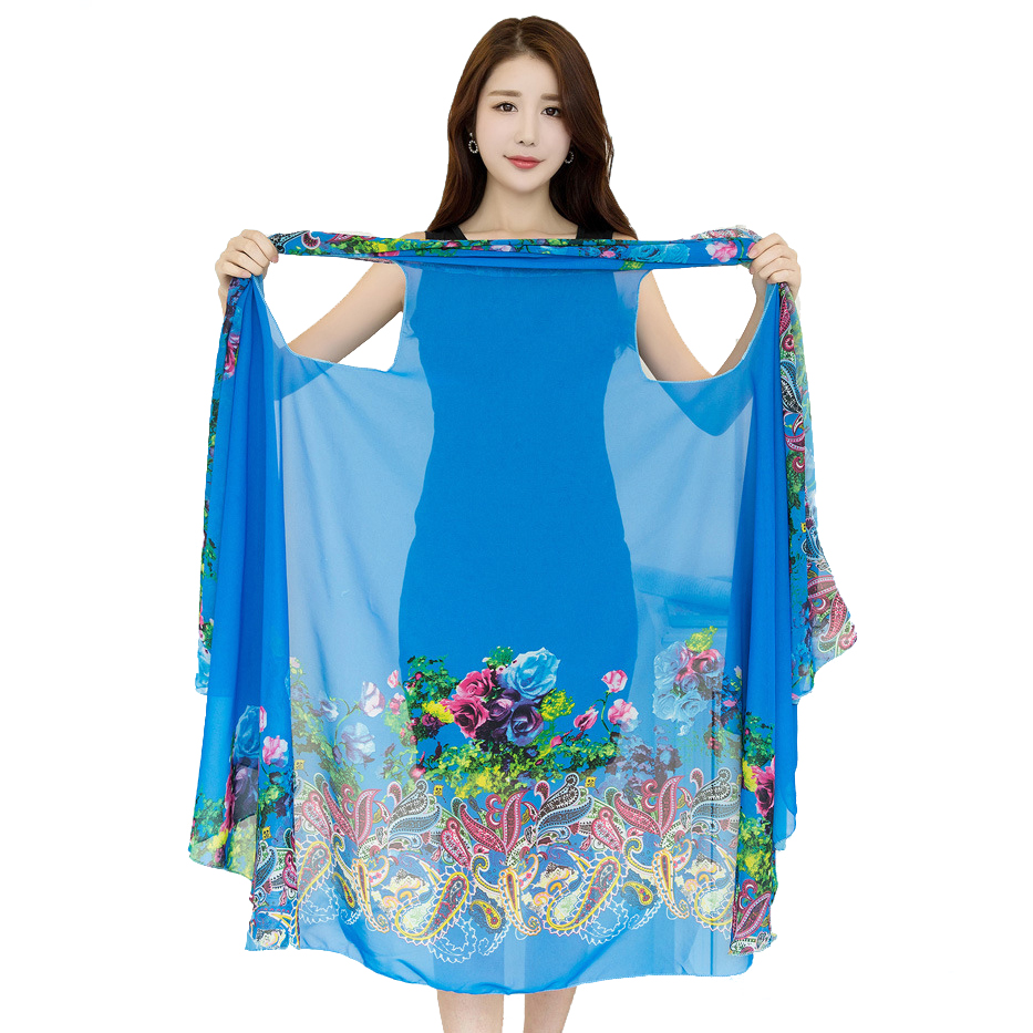 Magic Silk Scarf Women Shawls And Wraps Summer Beach Sunscreen Pashmina Women's Multifunction High Quality Fashion Scarves