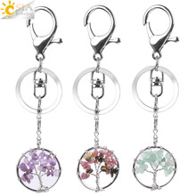CSJA Natural Crystal Stone Round Tree of Life Pendant Handmade Keychains Key Ring Key Holder for Women Car Bags Accessories E820