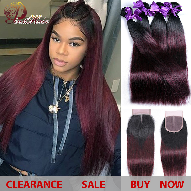 1B Red Burgundy Ombre Bundles With Closure Peruvian Straight Human Hair 4 Bundles With Closure No Tangle Pinshair Non-remy Hair