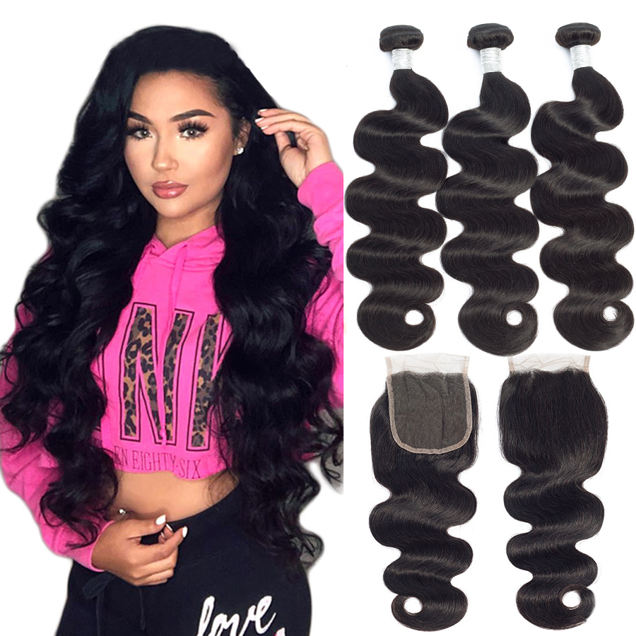 Brazilian Human Hair Weaves Body Wave Bundles With Closure 4X4 Lace Closure With Baby Hair Human Hair Extension WithLace Closure