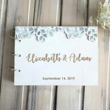 Personalized Wedding Guestbook Custom Wood Wedding Guest Book Anniversary Gift Wedding Sign Book
