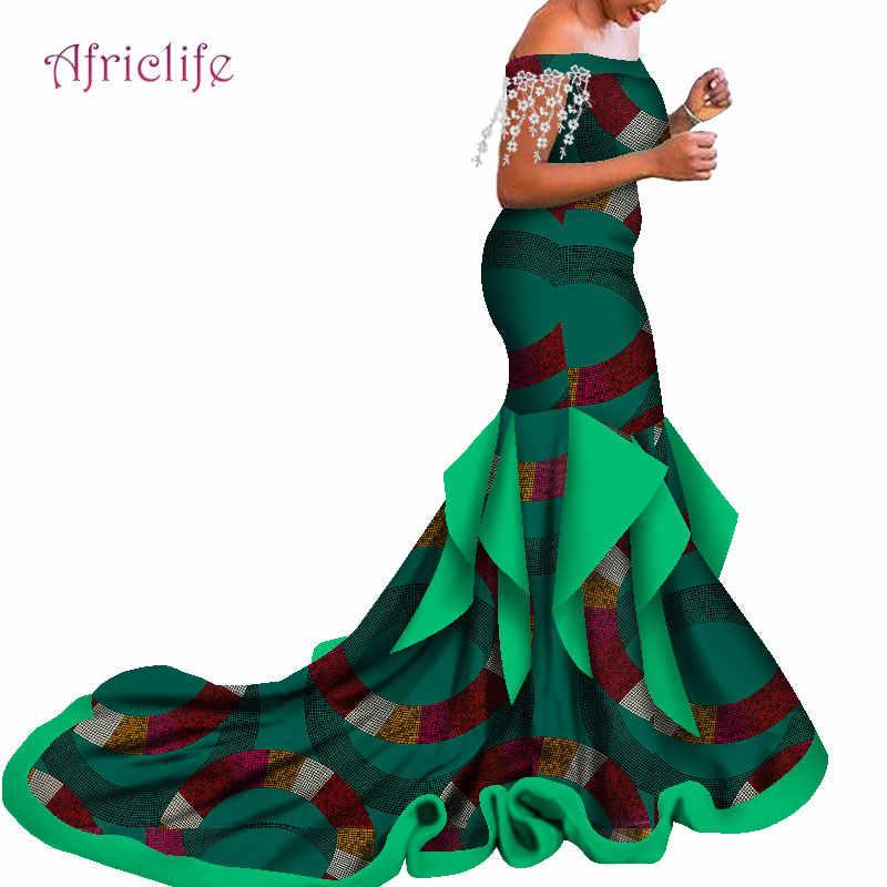 Fino al 30% di Sconto Abbigliamento Donna e Da Sposa Off Spalla di Lunghezza Del Pavimento Abiti Da Sposa Nuova Tendenza per 2020 di Abbigliamento Africano WY5057