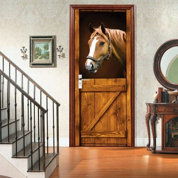 цена на Charm Set Creative Environmental Protection 3D Horse Door Stickers Renovation Self-adhesive Bedroom Wall Stickers