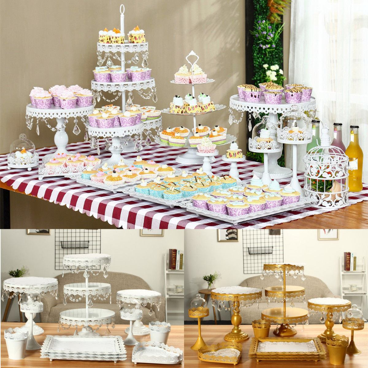 Crystal Metal Plate Cake Stands Display Cupcake Stand Birthday Party Wedding Decoration Party Bakeware Fondant Cake Display Kit
