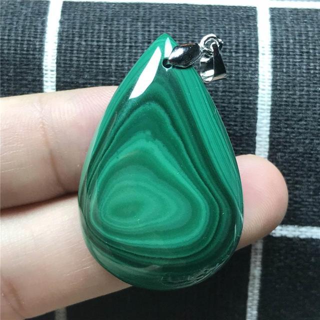 Colgante de malaquita verde Natural joyería para mujer señora hombre cristal 925 Plata 37x25x8mm cuentas pendiente collar de gemas AAAAA
