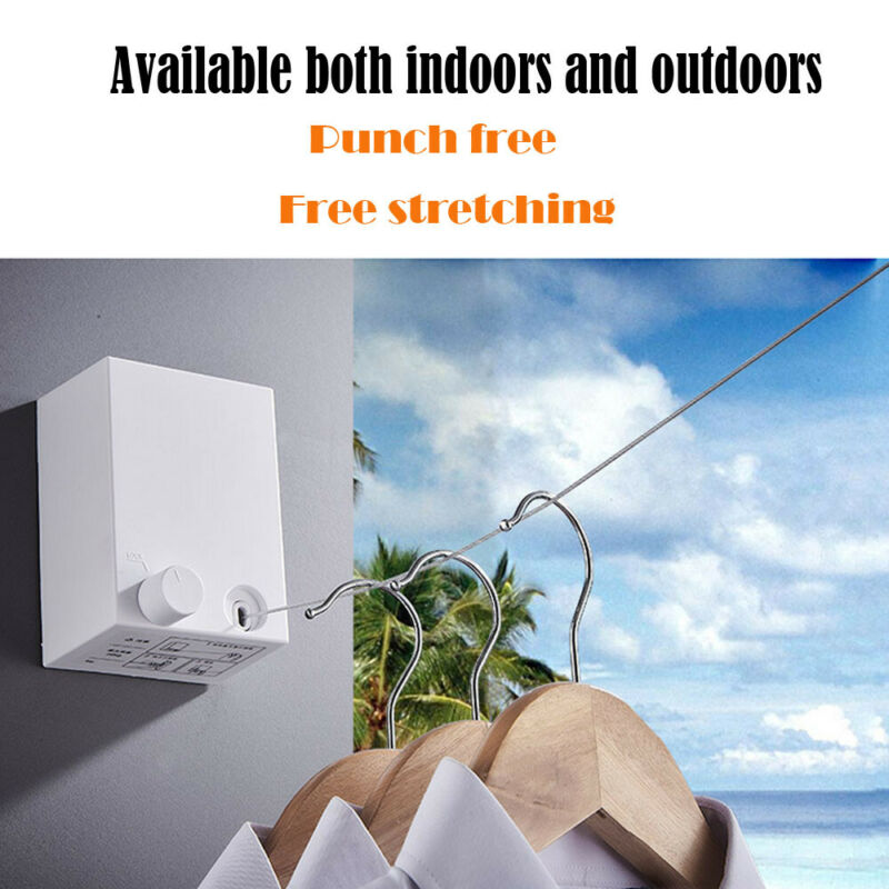 Indoor Outdoor Retractable Laundry Clothesline Wall Hanging Stretch Washing Clothes Line New Shrinking Balcony Invisible Line