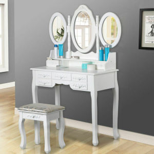 Women Elegant White Dressing Table 3 Oval Mirror 7 Drawers Stool Bedroom(China)