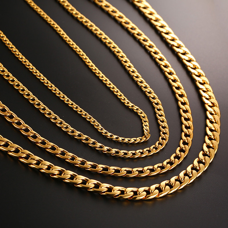Vnox Men's Cuban Link Chain Necklace Stainless Steel Gold Black Color Male Choker colar Jewelry Gifts for Him