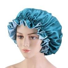 Nouveau Bonnet Extra Large doublé en Satin pour femmes, double couche, en soie, pour dormir la nuit, couvre-tête