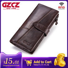 GZCZ Genuine Leather Men Wallet Fashion Coin Purse Man Walet Card Holder Portomonee Long Vallet Clamp For Money Male Clutch