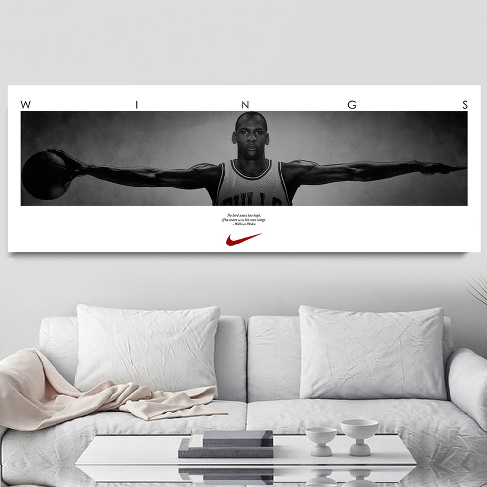 Ailes Star Du Basket Michael Jordan Wings Door Sports Posters NBA Star Wall Pictures For Living Room Art Canvas Decorations