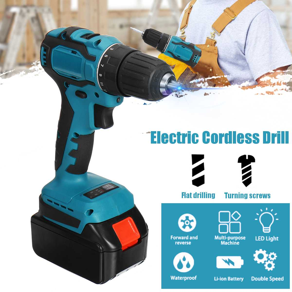 48V Cordless Electric Impact Drill 150Nm Torque Driver Kit Screwdriver Brushless LED Power Tools 6500mAh Battery With Box