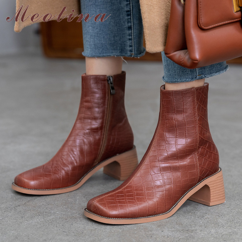 Meotina Short Boots Toe-Shoes Square High-Heels Zipper Female Autumn Natural Genuine-Leather