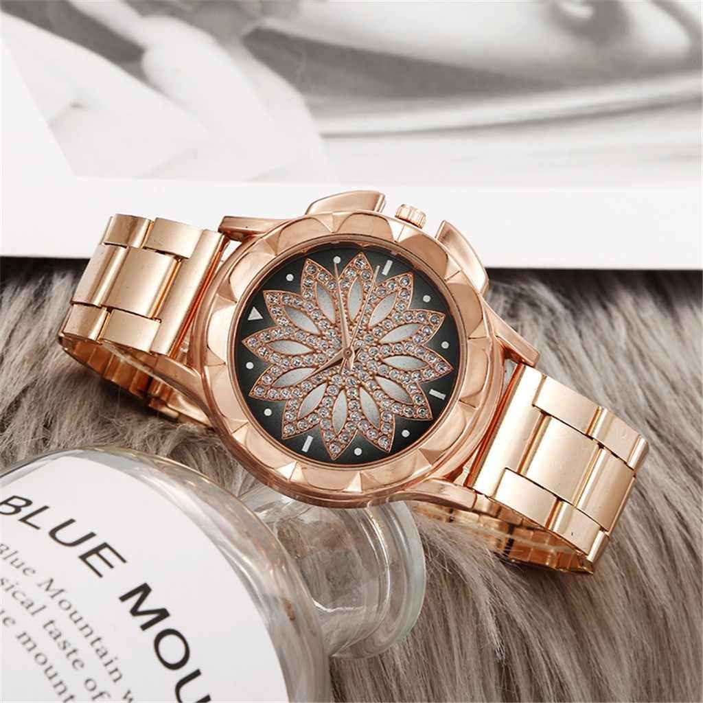 למעלה קוורץ שעון גבירותיי שעונים נשים יוקרה למעלה אופנתי פרח Rainstone עגול שמלת שעונים מתנה Relogio Feminino Montre Femme