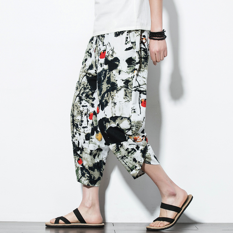 Pants Men Trousers Thin Printed Loose Cotton Linen Calf-Length Summer Beach Retro Vintage