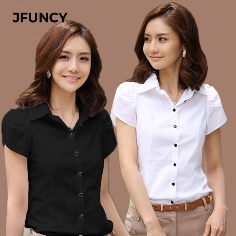 Jfuncy 2021 New Women Ol White Shirt Female Short Sleeved Workwear Button Up Blouse For Office Lady 4xl 5xl Plus Sizetops