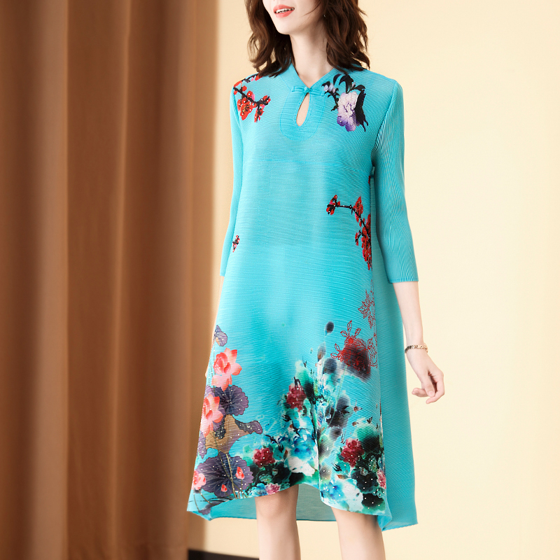 Vintage Dress Plus Size  For Women 45-75kg Spring And Summer Fashion Chinese Style Printed 3/4 Sleeve Improved cheongsam dress