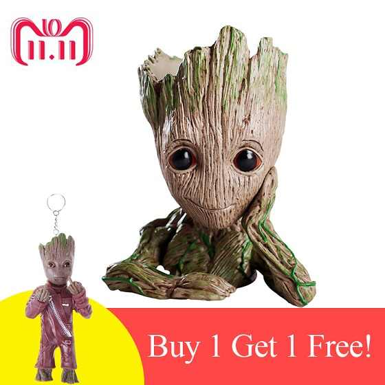 Baby Flower Pot Groot Flowerpot Cute Toy Pen Pot Holder Pen Pot with Keychain Baby Tree Man Garden Plant Pot Dropshipping