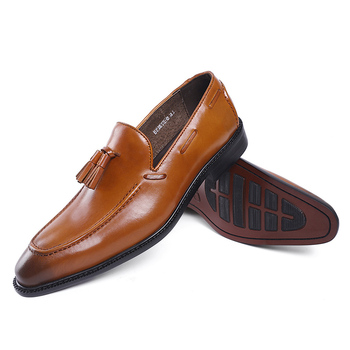 FELIX CHU Classic Mens Loafer Genuine Leather Slip On Formal Wedding Party banquet Dress Shoes Male Flats With Tassel #E71815-8