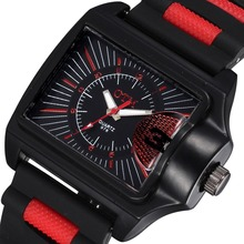 цена Sports Watch Men Square Dial Silicone Outdoor Fashion Casual Quartz Watches OTM Brand Luminous  Watch онлайн в 2017 году