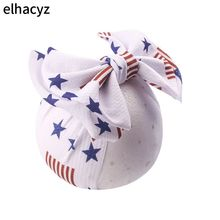 1PC July 4th Day Star Printing Headband Hair Bows Elastic Hair Bands Hair Clips for Girls Kids Independence Day Hair Accessories