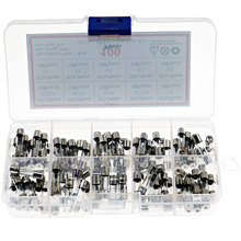 100Pcs 5x20mm 0.25A-6A Quick Blow Glass Tube Fuse Assorted Kit Fast-blow Glass Fuses