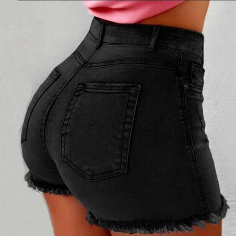 Denim High Waist Edging Women Shorts Bodycon Solid Pocket Zipper Plus Size XXXL Female Jeans 2020 Summer Fashion Ladies Shorts