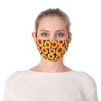 Sunflower Printing Reusable Protective PM2.5 Filter Mouth Mask Anti Dust Face mask Windproof Adjustable Face Masks Face Masks