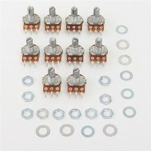 10pcs WH148 Linear Potentiometer 15mm Shaft With Nuts And Washers 3pin WH148 B1K B2K B5K B10K B20K B50K B100K B250K B500K B1M(China)