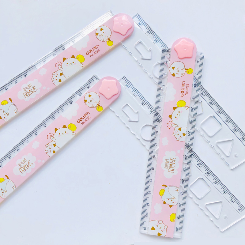 1X Pink Style Little Sheep 30cm Rotate Fold Measuring Straight Ruler Drawing Stationery
