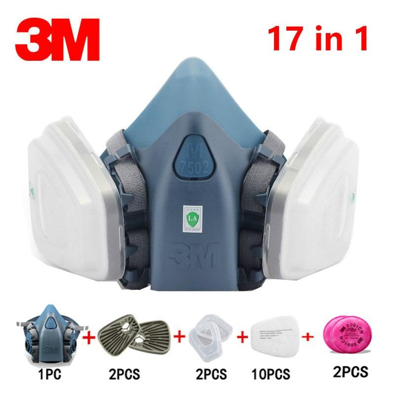 17 In 1 3M 7502 Gas Mask  Respirator Spray Painting Protection Respirator Dust Mask With 2091 Fiter/603/5N11 For Smoke Dust